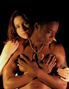 Marissa Keltie as Desemona and Skyler Cooper as Othello. Photo by Cheshire Isaacs. 2004.