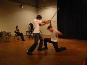 Rehearsing the Hotspur/Hal fight for Impact's Henry IV: The Impact Remix. Violcen by Christopher Morrison.