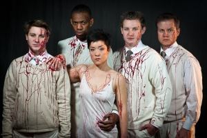 One of Cheshire's PR shots for Impact's Titus Andronicus. Mark McDonald, Reggie White, Anna Ishida, Michael Garrett McDonald, and Joe Loper pictured.