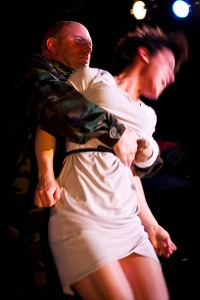 Stacz Sadowski and Anna Ishida in Impact's Titus Andronicus. Photo by Cheshire Isaacs. Fights by Dave Maier.