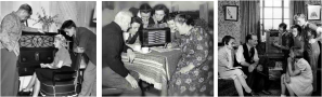 Families gathered around radios to listen to FDR's fireside chats. FDR was president 1933 - 1945.