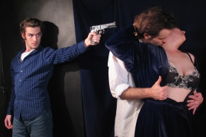 Our Hamlet PR shot by Cheshire Isaacs. That's Patrick Alparone, Cole Alexander Smith, and me. That shutter speed was crazy slow, so my back was killing me holding this pose. Cheshire said I bitched more than anyone he's ever shot except Olympia Dukakis. 2005.