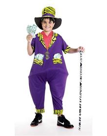 be the big money when you trick yourself out in this phat pimp child costume the purple polyester jumpsuit of this pimp costume features zebra print trim