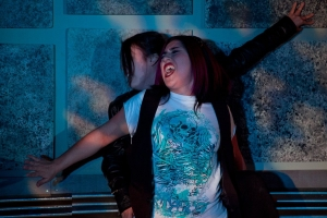 Marilet Martinez as Mercutio with Miyuki Bierlein as Balthasar underneath. Photo by Cheshire Isaacs. 2011.