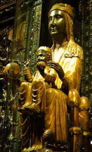 One of the many Black Madonnas of medieval Europe. This one is from the 12th century and is in Barcelona.