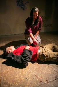 Jonah McClellan and Akemi Okamura in Impact's Troilus and Cressida. Photographer: Cheshire Isaacs.