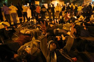 Protestors in Oakland, CA, November 24. Photo: Jim WIlson/New York Times.