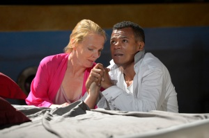 Julie Eccles as Gertrude and LeRoy McClain as Hamlet in California Shakespeare Theater's Hamlet. Photo by Kevin Berne.