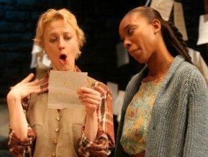 Sarah Dandridge as Rosalind and Francesca Choy-Kee as Celia in the Cincinnati Playhouse in the Park's production of As You Like It. Photo by Sandy Underwood.