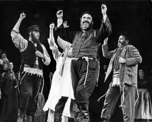 Zero Mostel in the original 1964 Broadway production of Fiddler on the Roof, © Photofest, Inc., courtesy of Gret Performances, Broadway Musicals: A Jewish Legacy