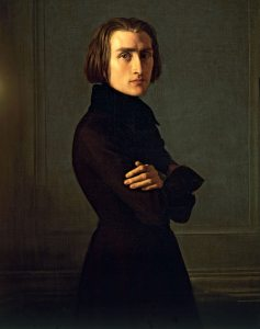 Gorgeous young Franz Liszt, seen here in an 1839 portrait by Henri Lehmann, inspired a  frenzy in his young, usually female, fans, known at the time as