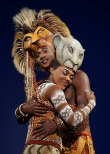 Nia Holloway as Nala and Jelani Remy as Simba in the Lion King national tour. Photo by Joan Marcus.
