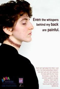An anti-bullying poster from National Voices for Equality, Education, and Enlightenment. Learn more about them and their anti-bullying initiatives, at nveee.org.