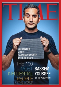 Bassem Yussef, an Egyptian satirist often compared to Jon Stewart, was arrested in March, 2013 for allegedly insulting President Mohammed Morsi and Islam. He was released on bail. In April 2013, he was named one of Time's 100 most influential people.