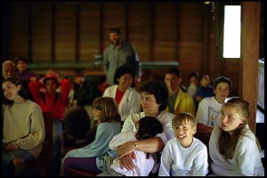 People gathered for a Quaker meeting. Photo cred: Philip Greenspun