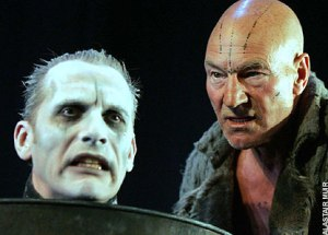 Julian Bleach as Ariel and Patrick Stewart as Prospero in The Tempest at the Novello Theatre in London, 2007. Photo by Alastair Muir. The Tempest has come under fire in certain circles for its implied criticisms of colonialism and racism.