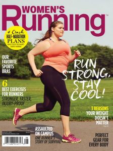 The August 2015 cover of Women's Running featured model and runner Erica Schenk, drawing both widespread praise and criticism. (James Farrell, WomensRunning.com)