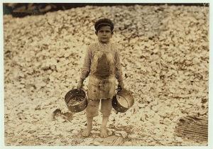 A five-year-old shrimp picker in Biloxi, Mississippi, 1919.