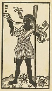 A black-and-white drawing of a Black man, barefoot and wearing a short white belted tunic, blowing on a musical instrument that looks like a shofar to me. He's carrying a tall staff and stands among flowers. He has a piece of cloth tied around his head that blows in the breeze around him.