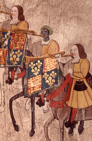 Three trumpeters, all facing left. They're all on horseback, and their trumpets bear the standard of Henry the 8th. The middle trumpeter is Black.