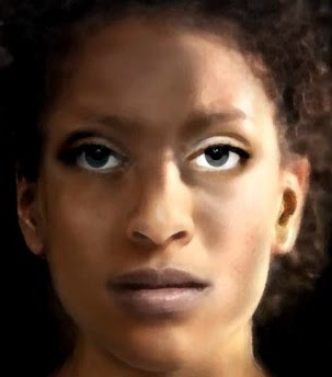 A painting of the face of a young Black woman facing outward.