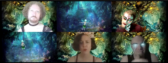 The actors appear in individual squares against a magical forest background. Puck is wearing a black lace shirt and Oberon has lightning shotting out of his eyes. Titania wears a flower crown. Two of the three minor fairies appear as tiny, flying fairies with the actors' faces. The third is human-sized with digital fairy makeup.