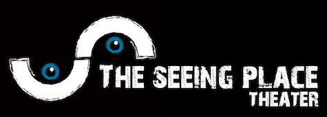 Pictured; the logo of The Seeing Place Theater, white lettering on a black background, accompanied by a white S-curve with a blue eye in both parts of the curve.
